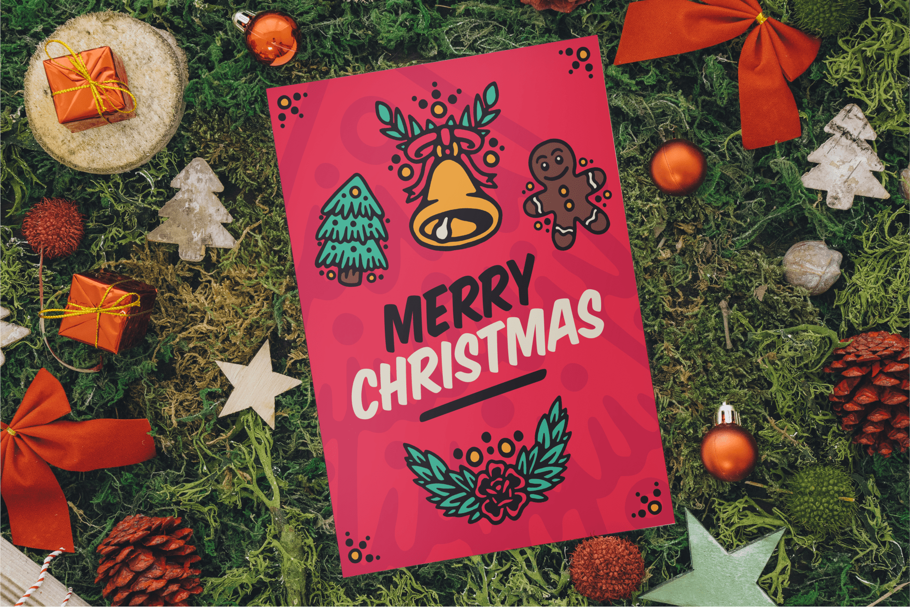 Peace love icons joy Christmas Illustrations